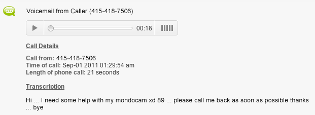 phone message examples