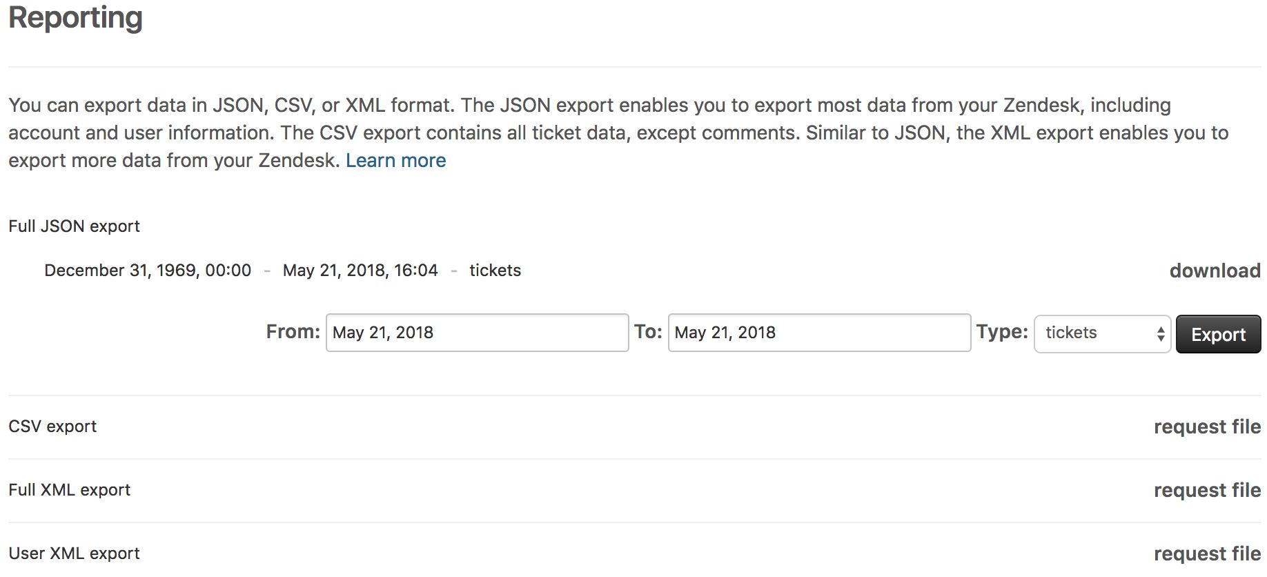 Exportieren von Daten als JSON, CSV- oder XML-Datei