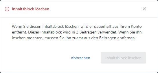 Guide – Inhaltsblock – Löschen bestätigen
