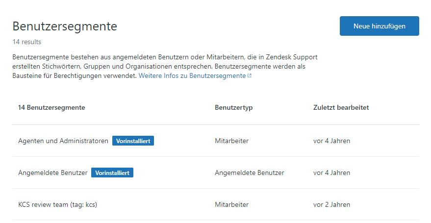 Guide – Verwaltungsseite Benutzersegmente