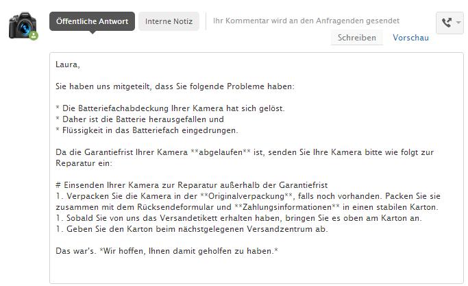 Deutsch Kommentar Beispiel