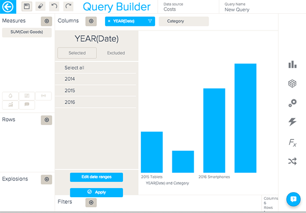 The date attribute is located on the columns axes of the Query builder. The columns axes is located at the top of the Query Builder, above your chart.