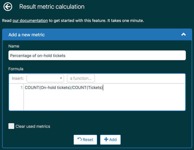 Result metric calculation page