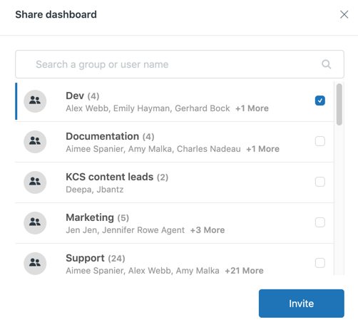 Explore dashboard sharing example.