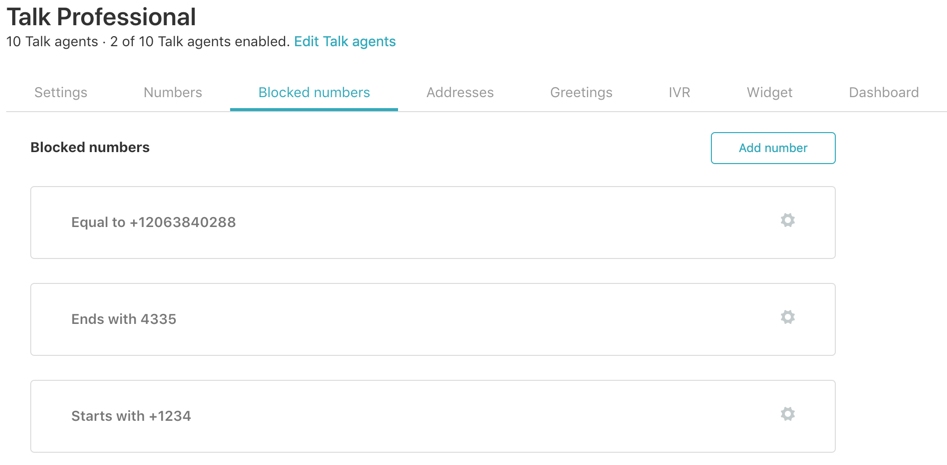 Talk blocked number list