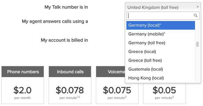 Calculadora de costos de llamadas de Talk