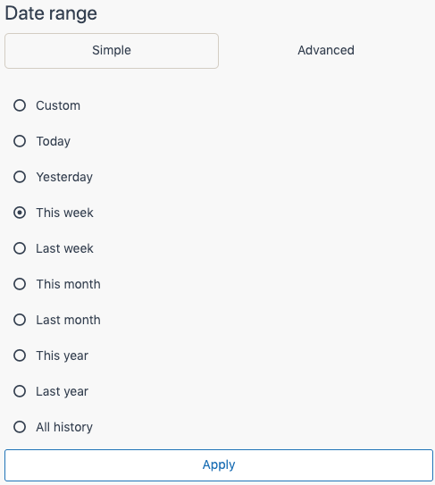 Explore date range select.