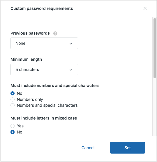 Setting the password security level (Professional and Enterprise