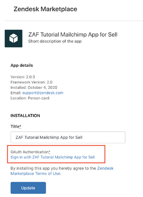 App installation with OAuth