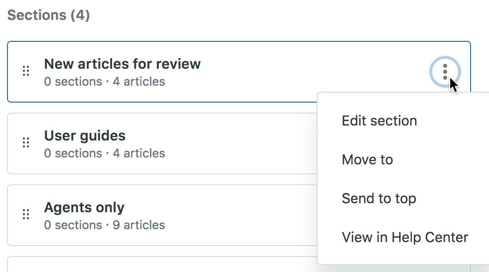 Arrange articles option menu