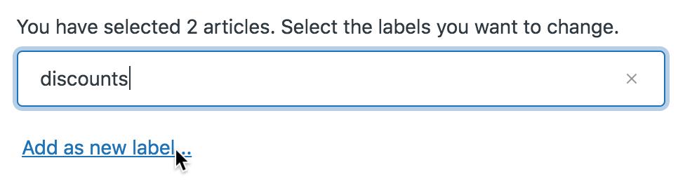 Bulk label add new