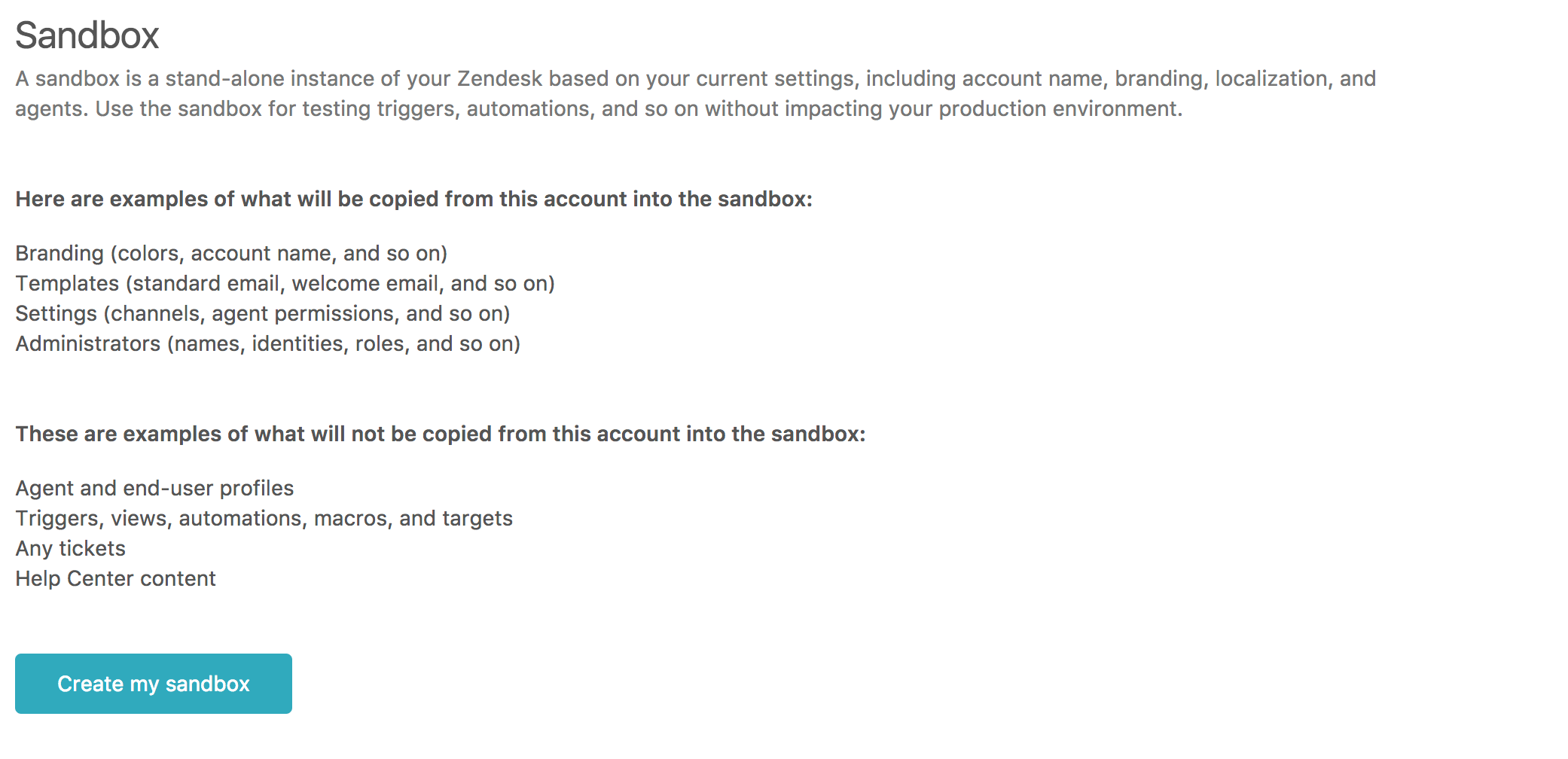 Testing Changes In Your Sandbox Enterprise Zendesk Support