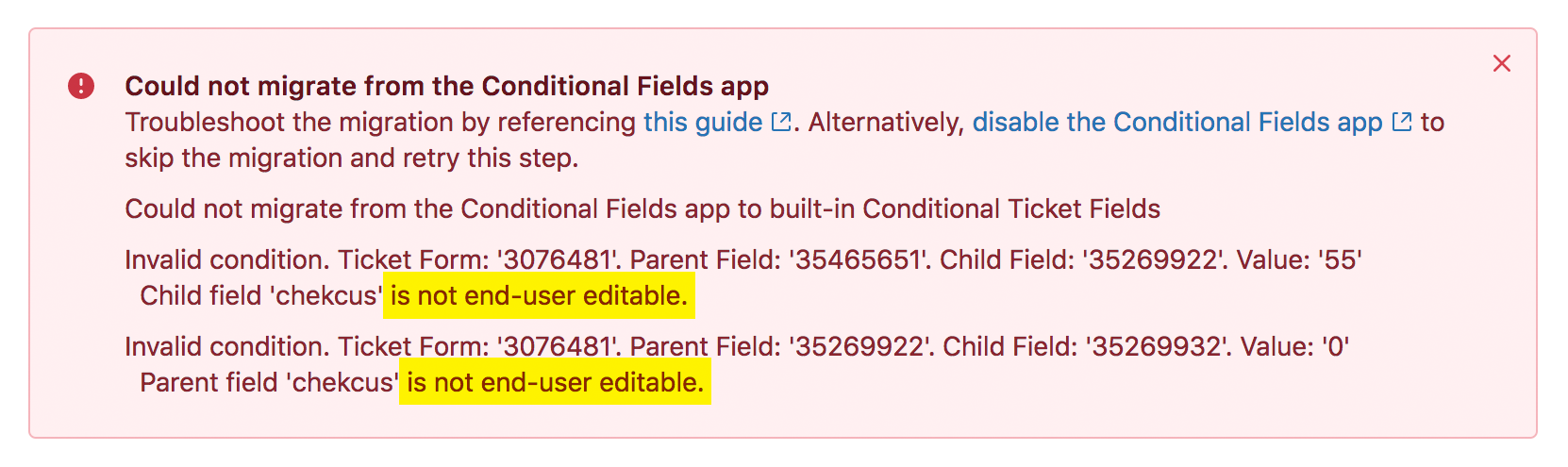 Migrating to conditional ticket fields (Professional Add-on and