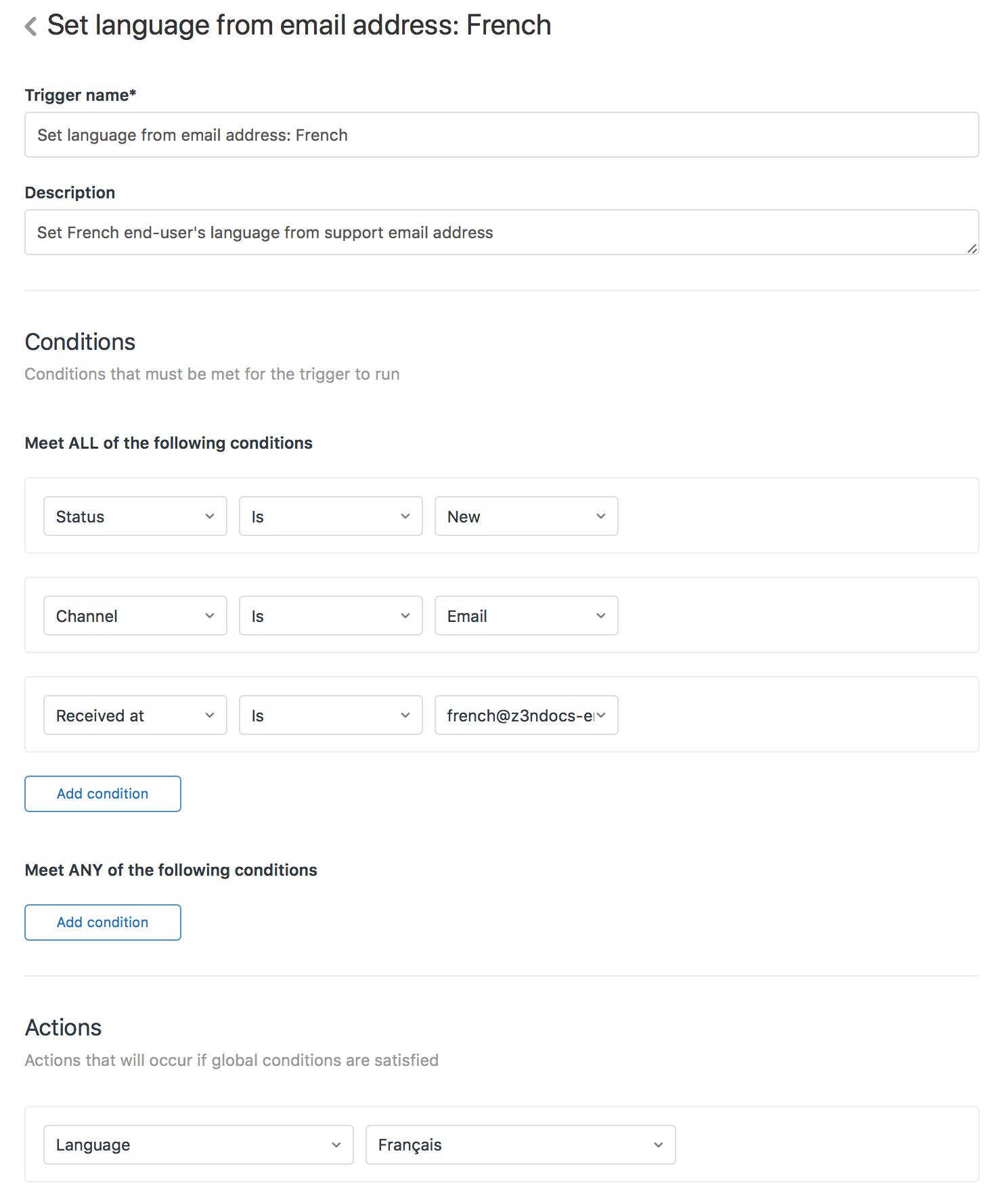 Adding multiple languages to zendesk support professional and in this example z3nbugulator uses the aidebugulator email address for its french language users this email address is forwarded to m4hsunfo