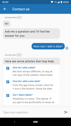 Answer Bot suggests articles
