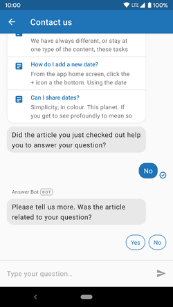 Answer Bot conversation prompts for feedback
