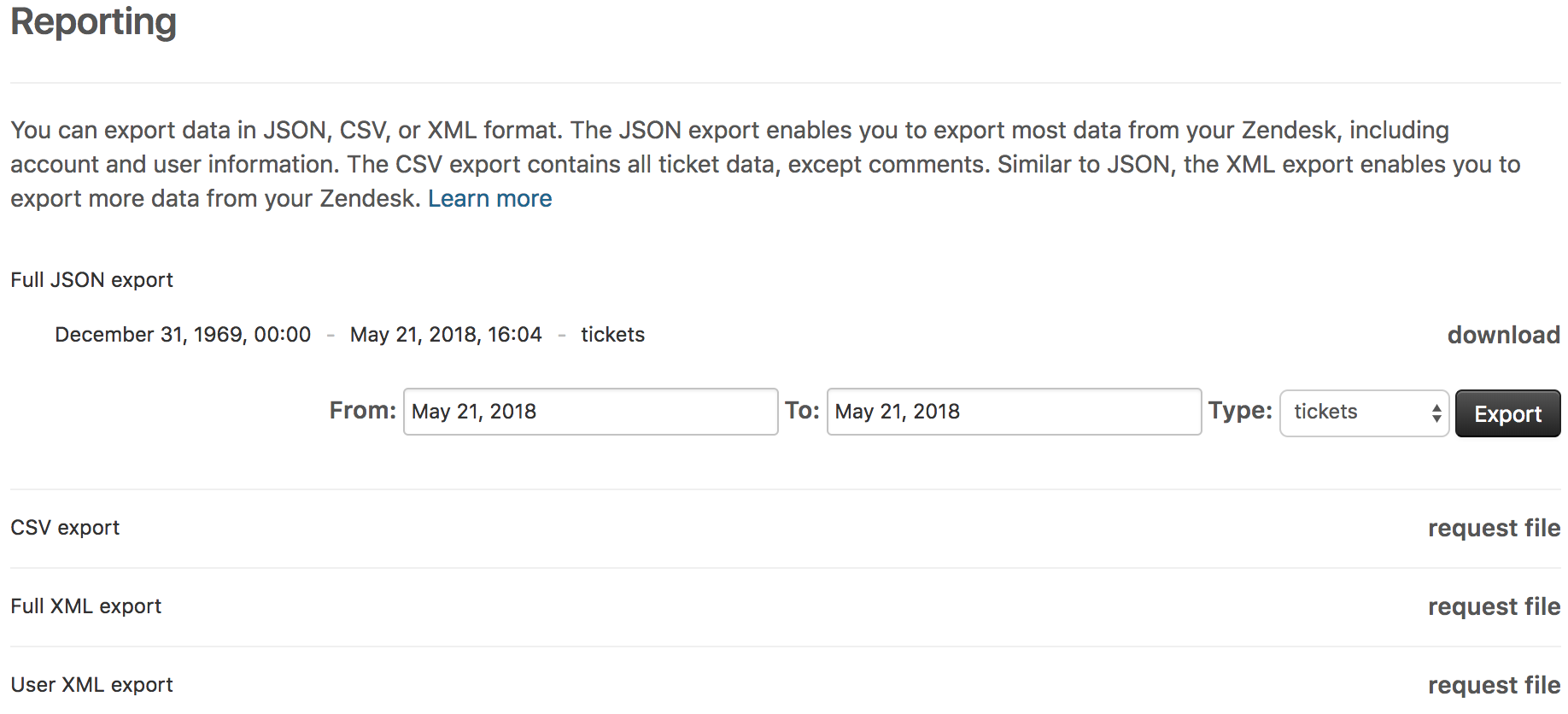 Exporting data to a JSON, CSV, or XML file (Professional and