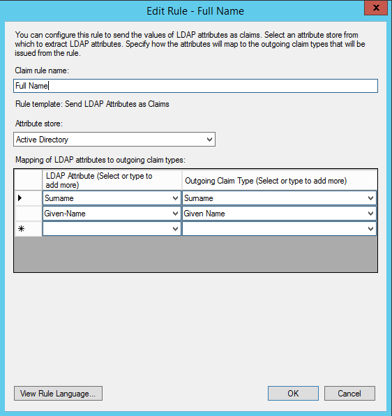 Mapping attributes from Active Directory with ADFS and SAML