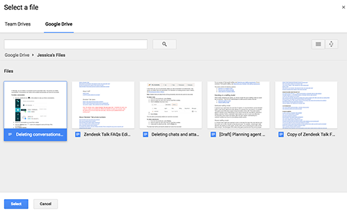 Google Docs file picker