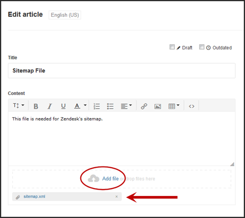 Guide Add sitemap file to Zendesk