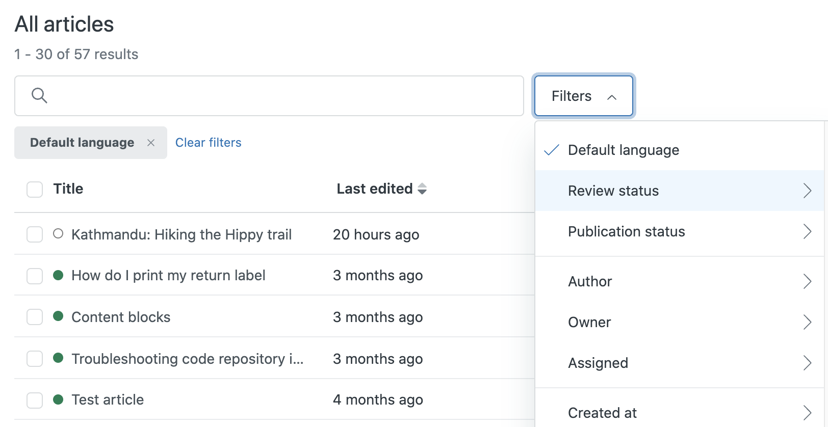Guide articles filters