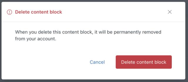 Guide delete content block