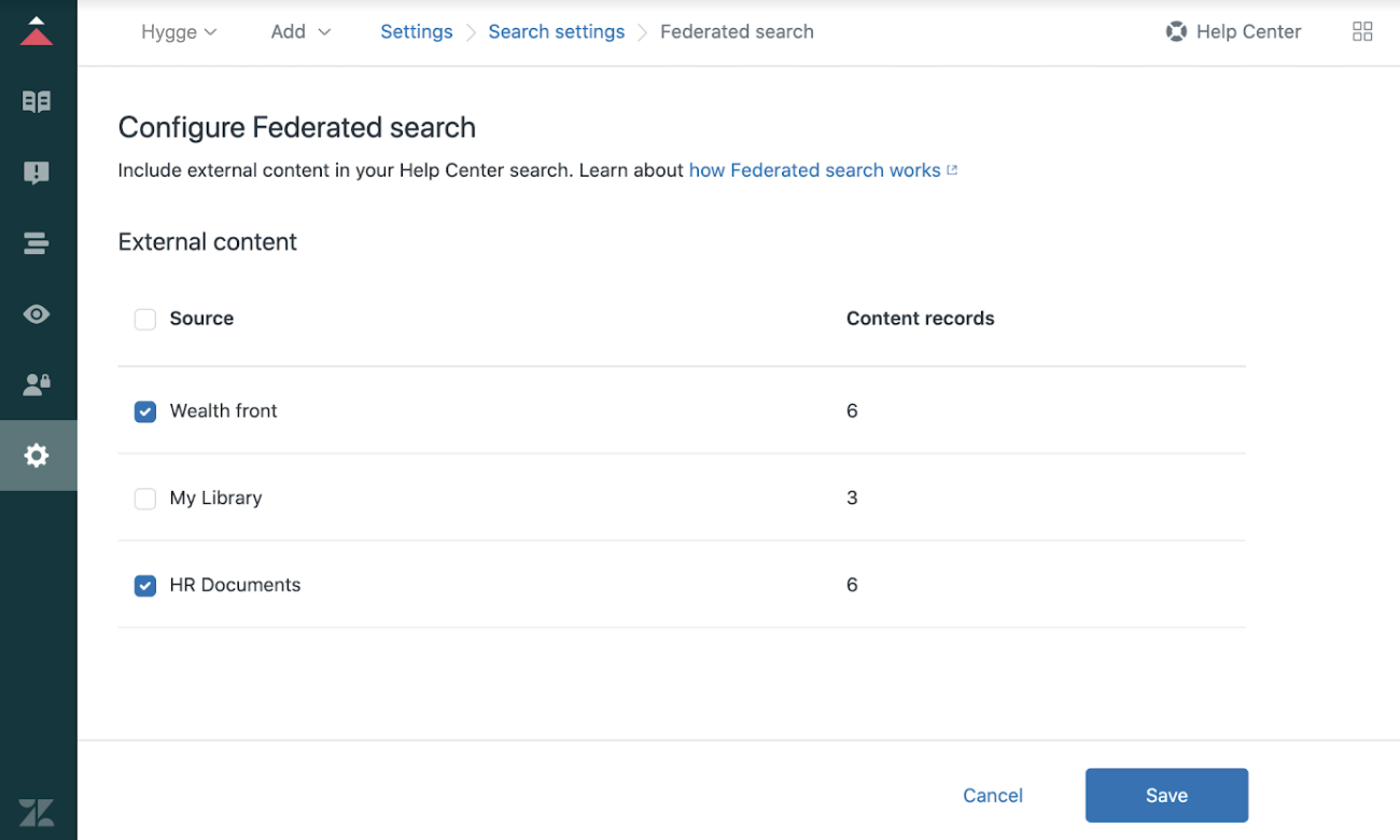 Federated search, ingest content