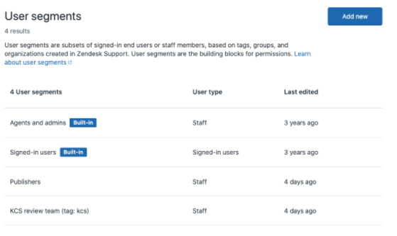 Guide User segments management page