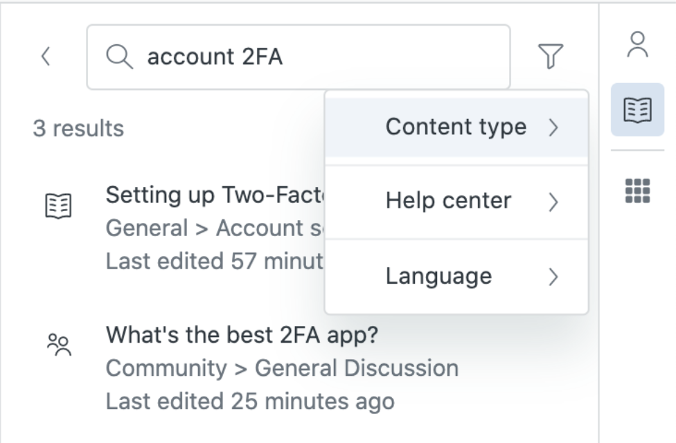 Knowledge in the agent workspace filtered search