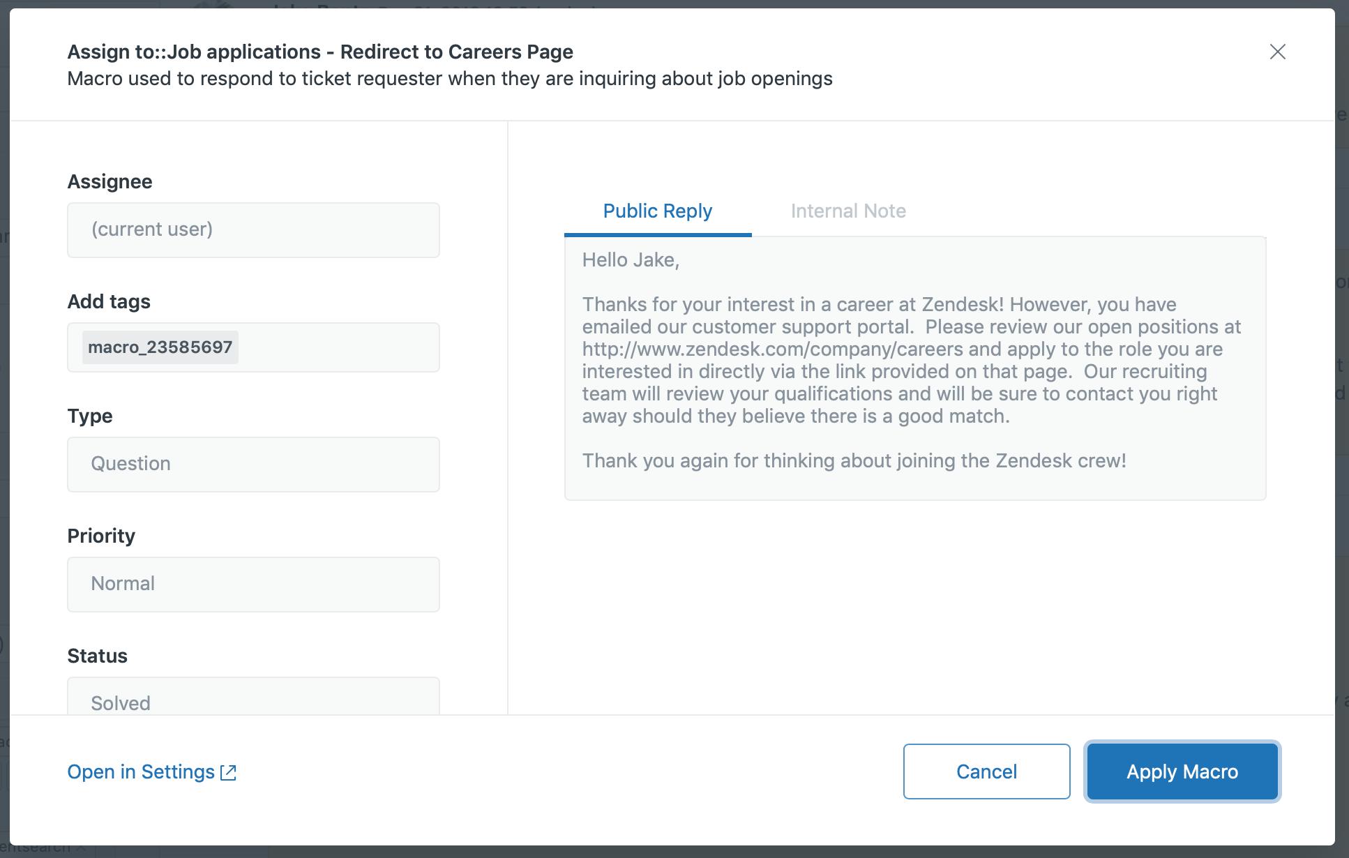 Using macros to update tickets – Zendesk help