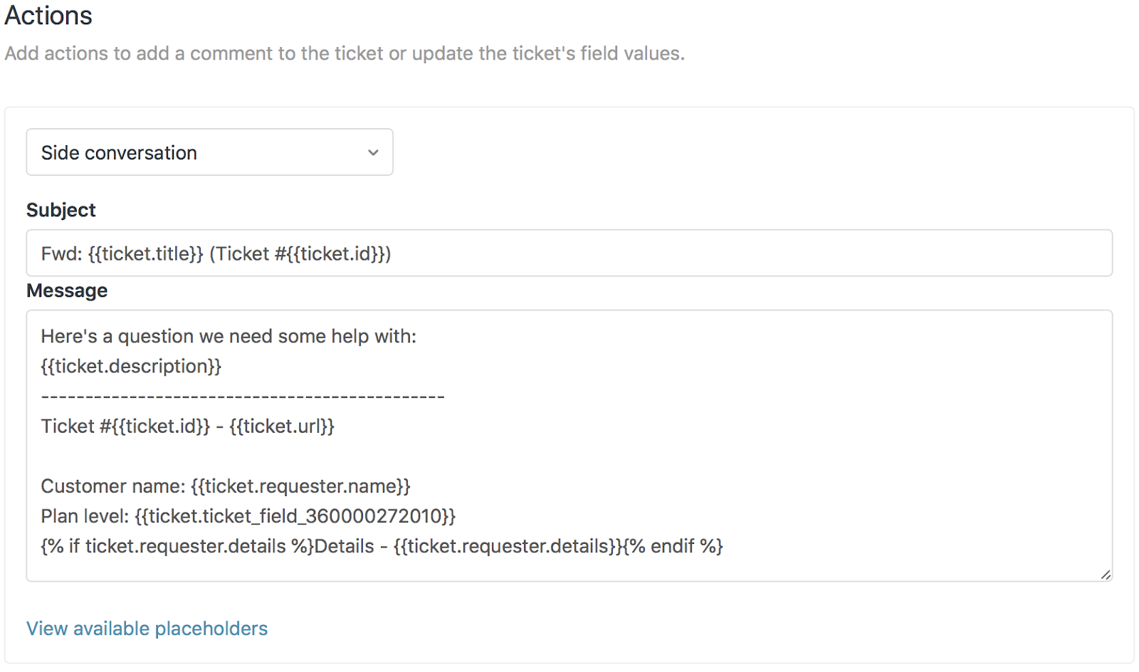 Using Macros To Start Side Conversations Add On Zendesk Support