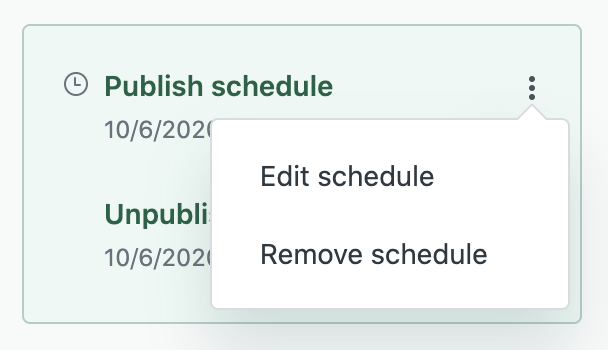 Scheduled publishing unpublishing menu