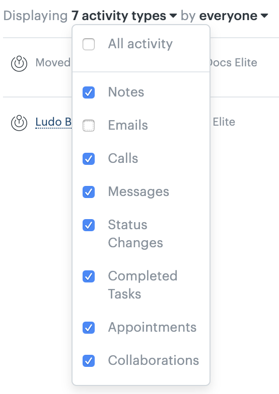 Sell email activity feed