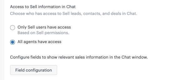 Access to Sell information in Chat