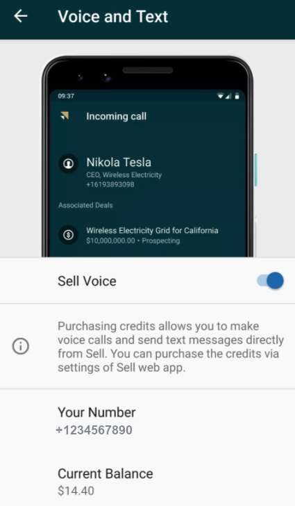 Sell – Voice aktivieren – Android