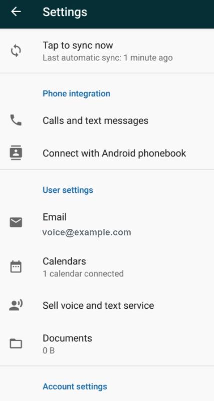 Sell – Voice im Einstellungsmenü aktivieren – Android