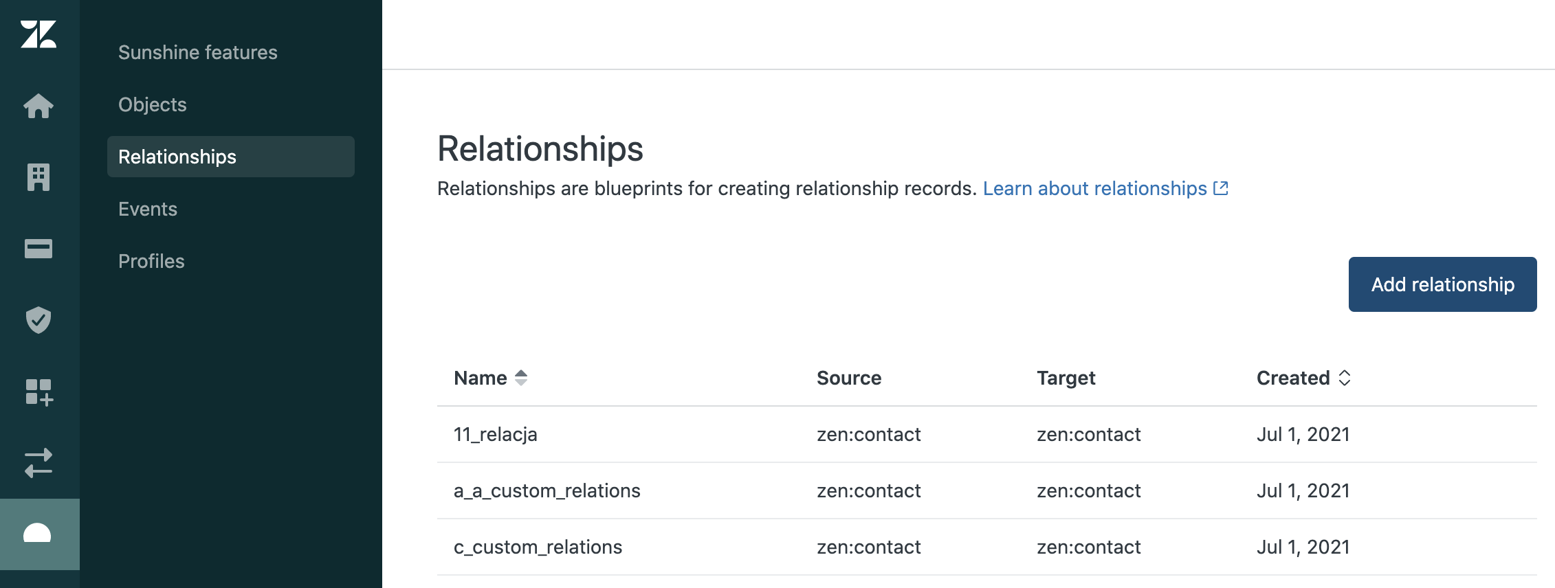 Sell custom objects add a relationship