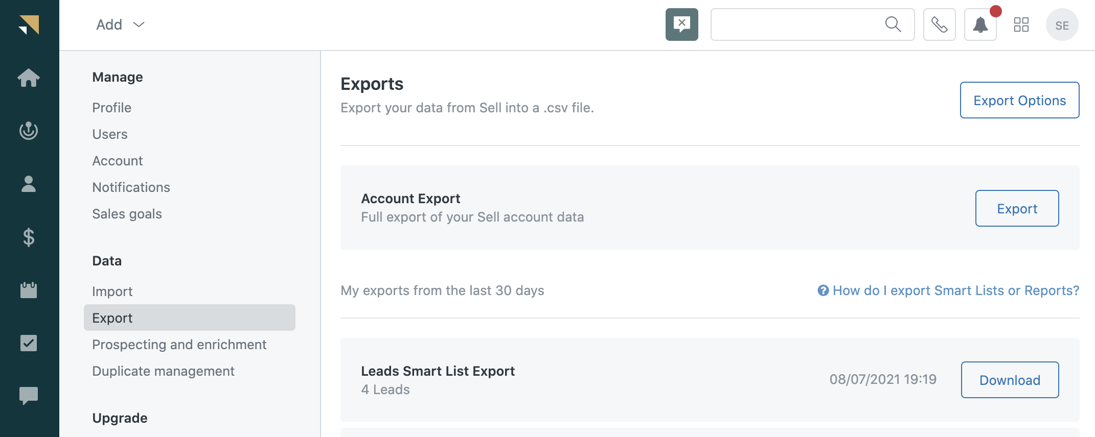 Sell data exports