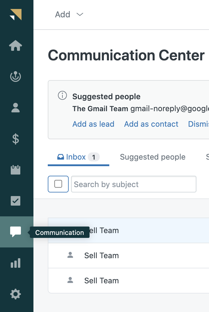 Sell email communication center