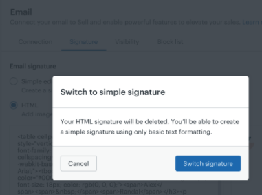 Sell switch to a simple signature
