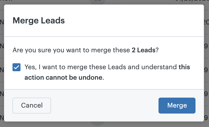 Sell merge leads confirm