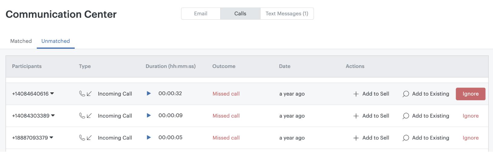 Ignorar chamadas sem correspondência no Sell