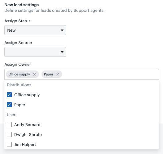 Sell new lead settings