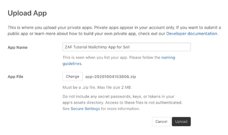 Sell private app upload