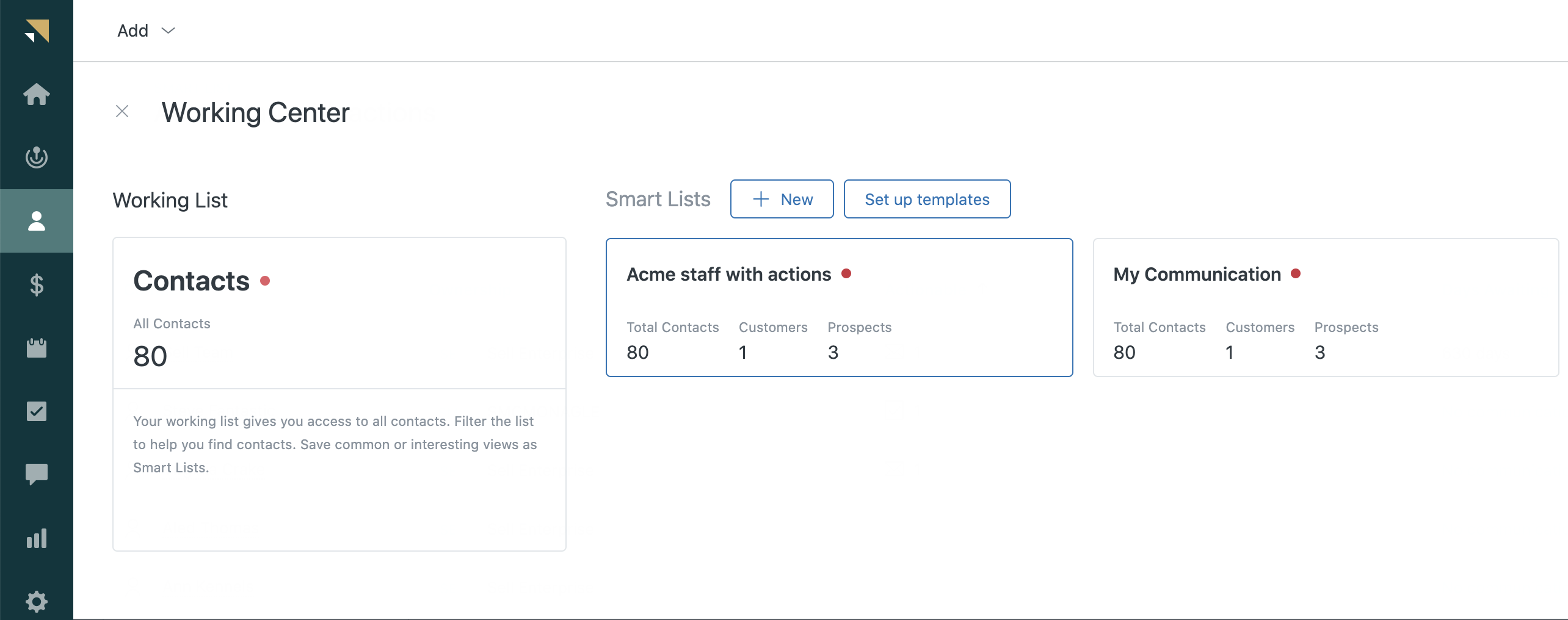 Sell smart lists Working Center