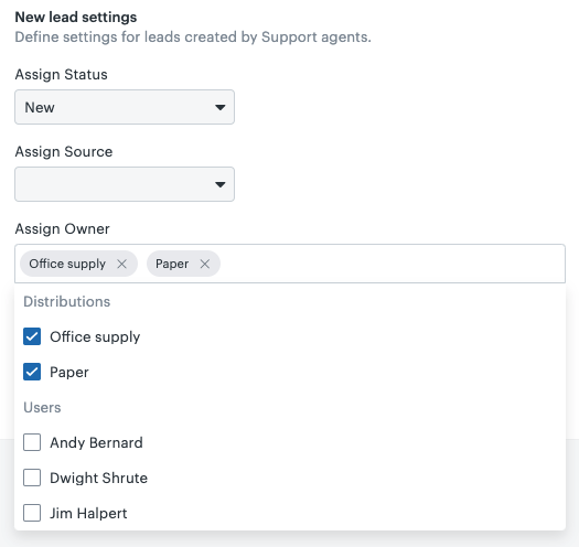 Sell-Support owner field with distribution
