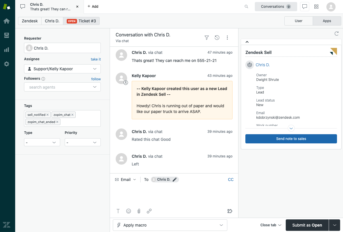 Sell-Support send note to sales support