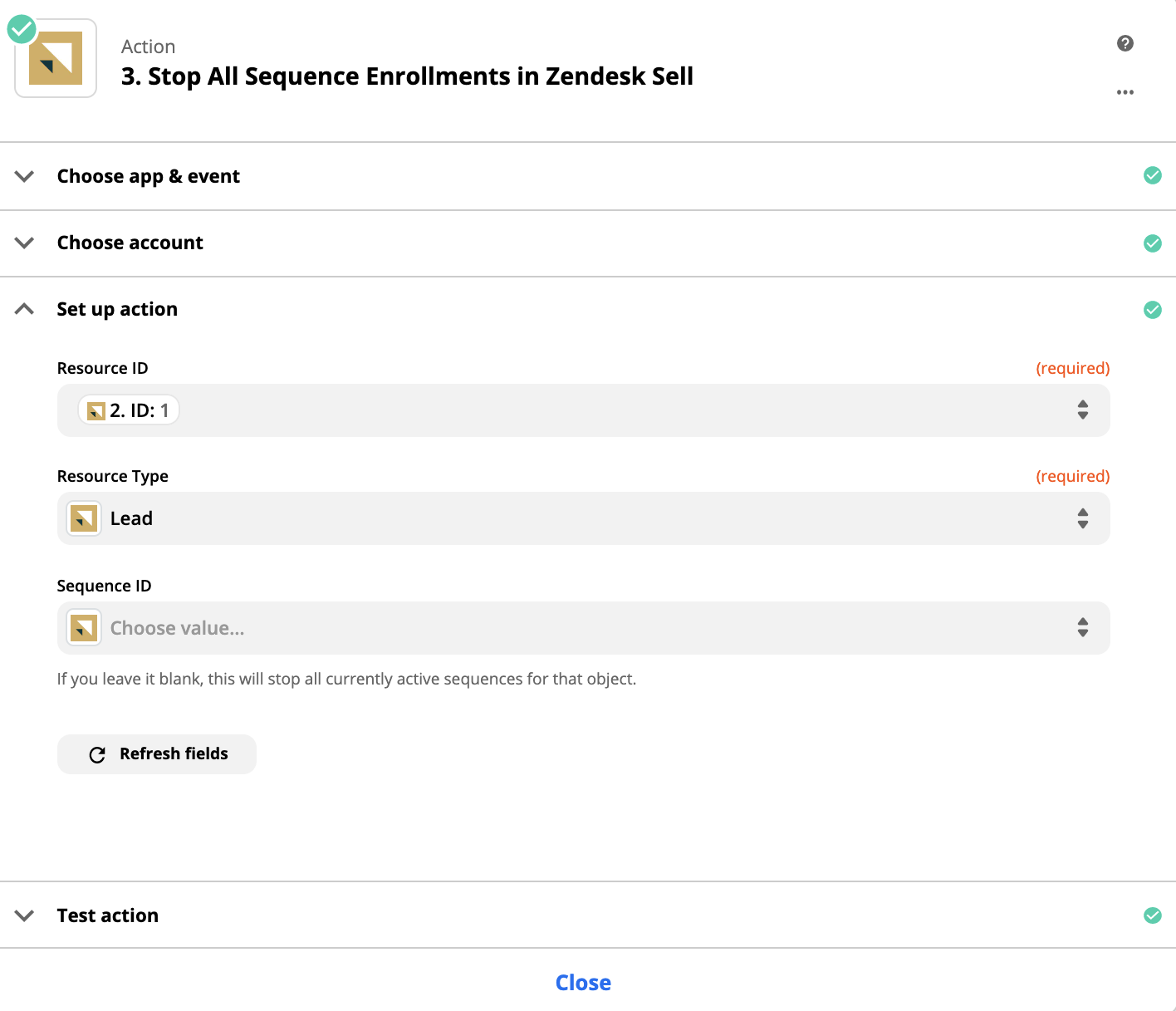 Zapier Sell stop all sequence enrollments