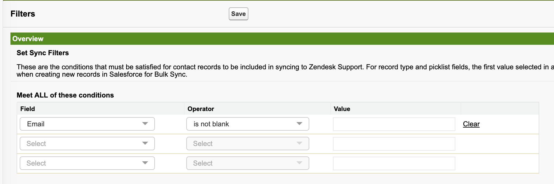 Salesforce: Using the Zendesk Support Bulk Sync feature