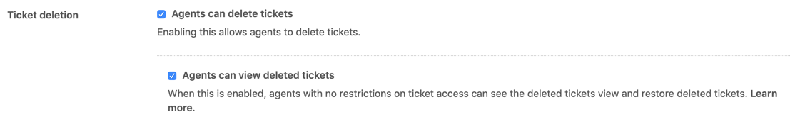 Ticket deletion section